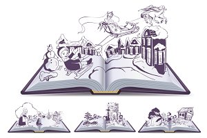 Set Open book illustration tale