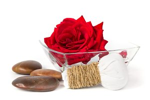 Red rose soap herbal spa concept white background
