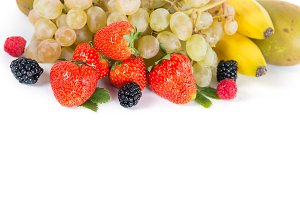 Mix of fruits on a white background