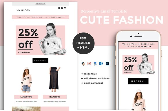 Fashion Email Template Psd Html Email Templates Creative Market - Mailchimp psd template