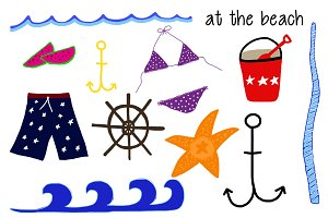 At the Beach Clip Art