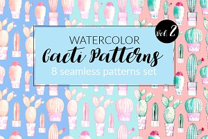 Watercolor Cacti Patterns Set Vol. 2