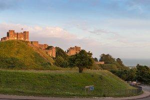 Dover Castle in sunset lights