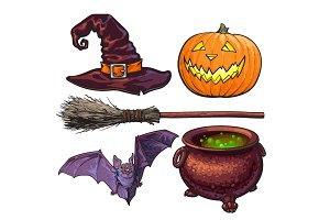 Witch, Halloween accessories - hat, caldron, jack o lantern, broom, bat