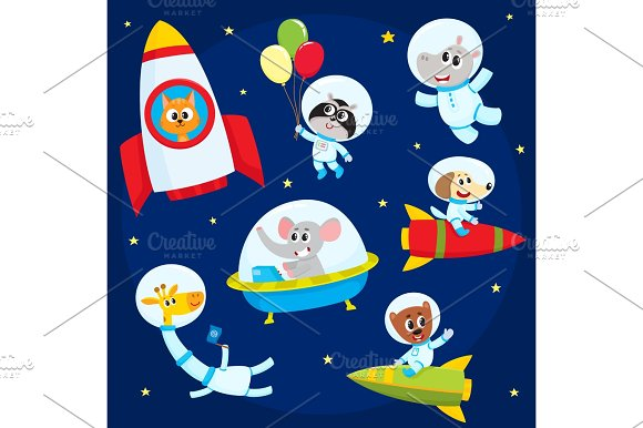 Cute Animal Astronauts Spacemen Flying In Rockets Space Suits Ufo