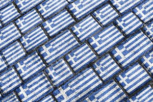 Greece Flag Urban Grunge Pattern