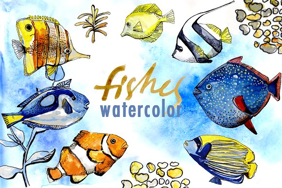Ocean Fishes Watercolor