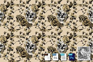 Skulls in flowers seamless pattern