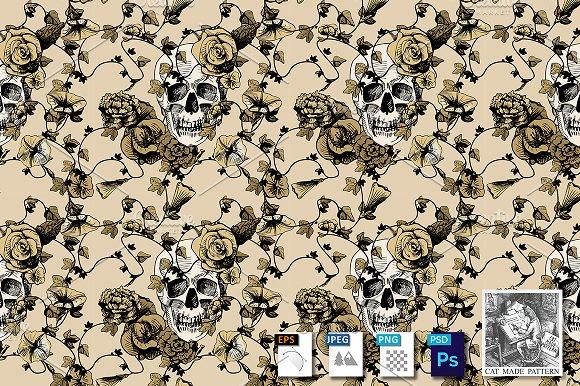 Skulls In Flowers Seamless Pattern