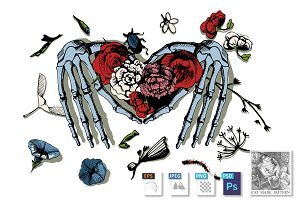 Skeleton hands making heart