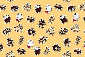 Bakery icons set pattern