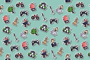 Fatherhood icons set pattern