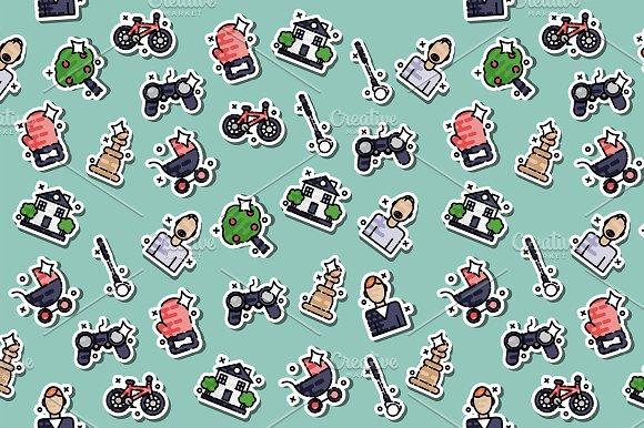 Fatherhood Icons Set Pattern