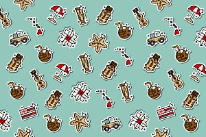 Hawaii icons pattern