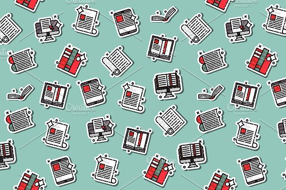 Library Flat Icons Pattern