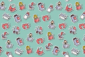 Motherhood icons pattern