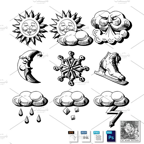 Etched Weather Icons