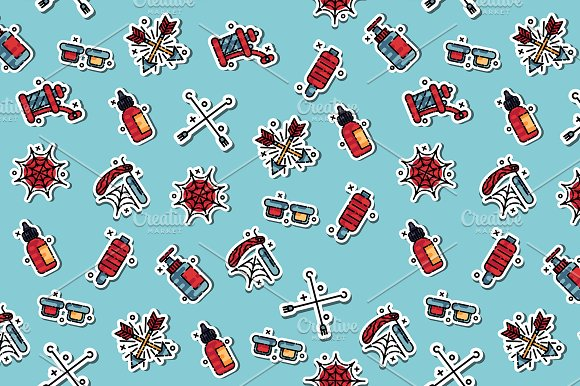 Tattoo Flat Icons Pattern