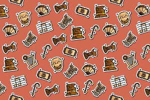 Theater flat icons pattern
