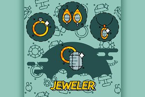 Jeweler flat icons set