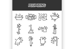 Plumbing concept icons pattern