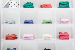 Shelves with clothes, showcase