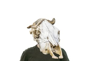 Man with Mammal Headbone Mask