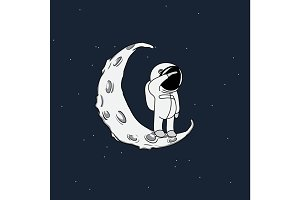 Little spaceman on crescent moon