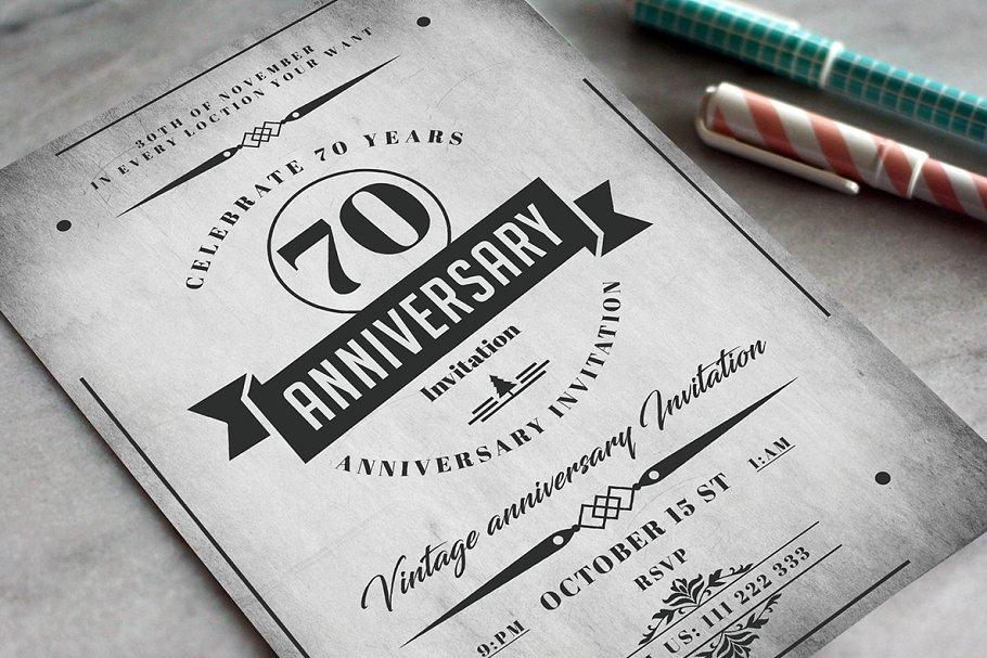 Anniversary Invitation Card Card Templates Creative Market