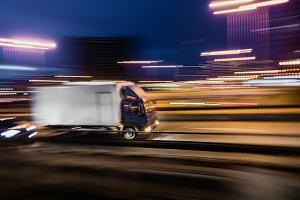 Trailer truck blurred