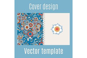 Cover design with blue floral background