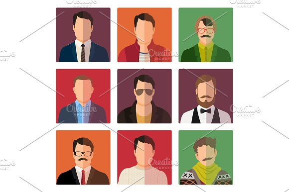 Male avatar icons in casual style