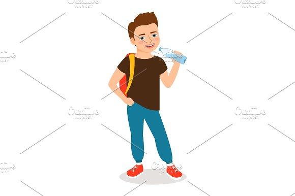 Cartoon little boy drinking clean water