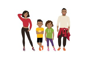 Happy black family in sport style
