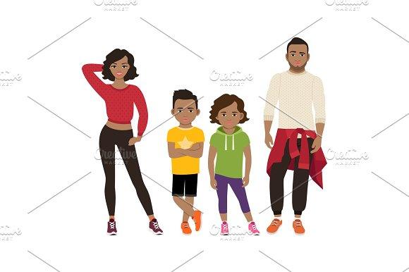 Happy black family in sport style