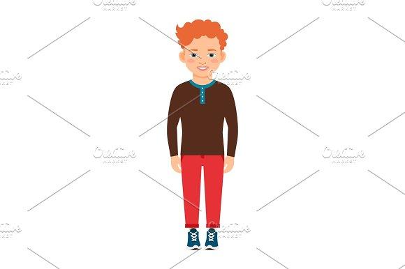 Red hair boy in brown shirt