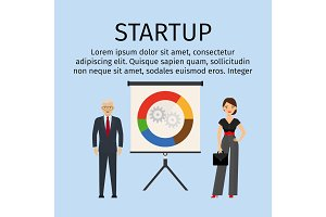 Startup infographic with business people