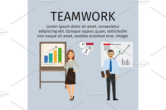 Teamwork infographic with business people in Illustrations