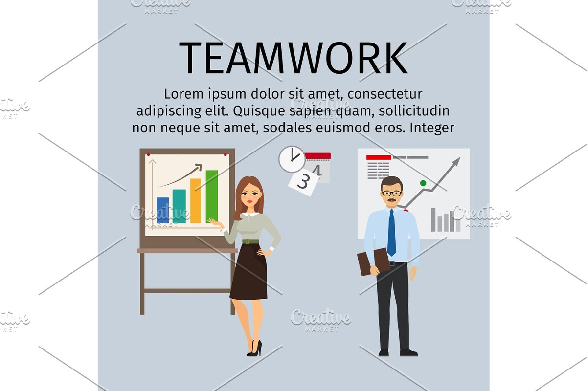 Teamwork infographic with business people in Illustrations - product preview 8