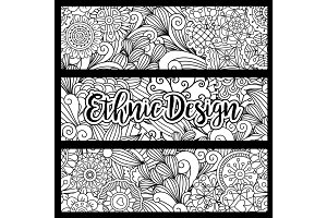 Horizontal flyers with ethnic pattern