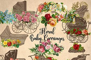 Floral Baby Carriages Clipart
