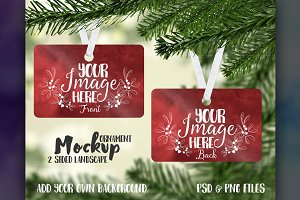 2 sided landscape ornament mockup