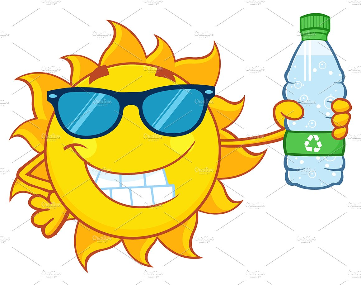 Cute Sun Holding A Water Bottle ~ Illustrations ~ Creative ...