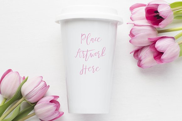 Pink Tulips Travel Mug Mockup