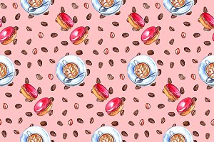 Coffee and macaroon seamless pattern