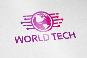 Modern World Tech Logo Template