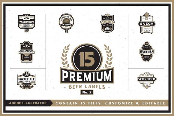 Premium beer labels no 2 logo templates creative market 2 logos pronofoot35fo Choice Image