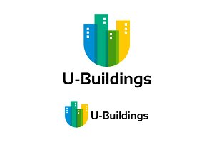Modern U-Buildings Logo template