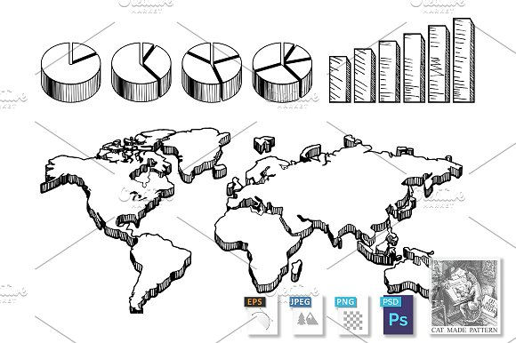 3D World Map With Charts