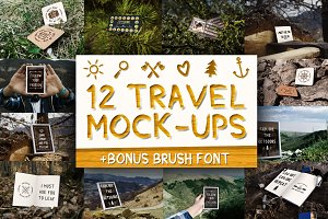 12 Travel Mockups + Bonus Font!